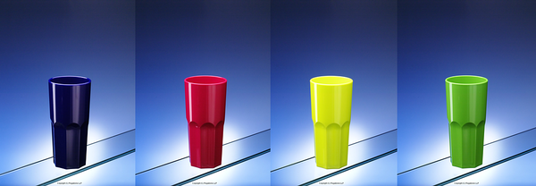 Plastic glasses in bespoke colours
