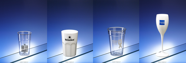 One colour pad prints on plastic glasses
