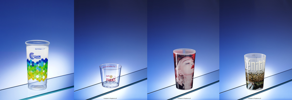 Dry offset printed and IML plastic cups and glasses